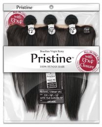 "Pristine Straight 3PCS 14""/16""/18"" + 13""X4"" Frontal Closure - Natural Color"