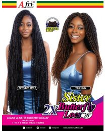 """AfriNaptural 2X SISTER BUTTERFLY LOCS 20"""""""
