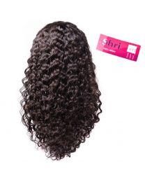 "Human 100% Human Hair Shri 13""x6"" Front Lace Wig - Deep Wave / Krul"
