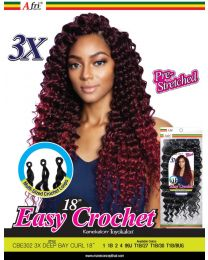 """Afrinaptural Easy Crochet Pre-Streched 3X DEEP BAY CURL 18"""""""