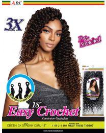 "Afrinaptural Easy CrochetPre-Streched 3X Stream Curl 18"""